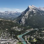 Aerial photograph of Banff town and The Banff Centre. Image courtesy of The Banff Centre.